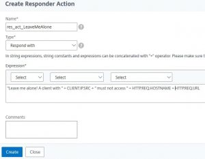 A NetScaler responder action: respond with text
